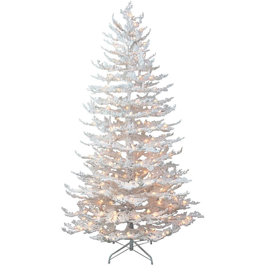 Arbre de Noël Snowy Elegance de 7 pi, avec 250 lumières à DEL blanc chaud
